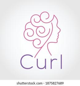 logo simple feminine curly hair