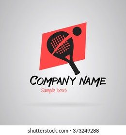 Logo Simple padel tennis. Gray and red. Vector.