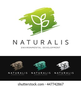 Logo of a simple and stylized plant over green brush shape. This logo is suitable for many purpose as botanist, environmental firm, natural medicine and more.