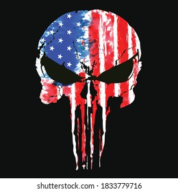 logo skull and Bones Punisher icon with United states America US flag. Element of crime and punishment illustration, T-Shirt graphics design famous, vector design icon