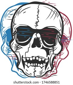 the logo is a skull in the grunge style. scratches, torn parts, different colors. perfect for printing on clothing