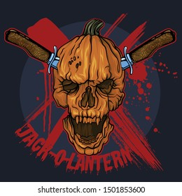 Logo Jack-'o-Lantern Skulls Pumpkins with Knife Halloween Vector Illustration
