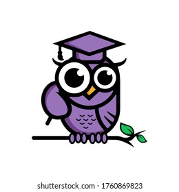 logo smart owl purple cute akademic. illutration owl  searching science