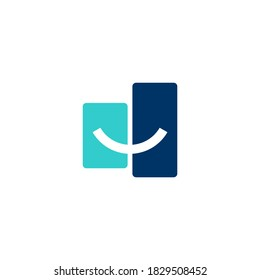 logo a smile curve that cuts two rectangles