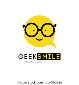 logo, smiley with glasses, clever cartoon cheerful good sign, bubble, vector, symbol for an application virtual communication