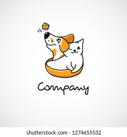 Logo with smiling cartoon cat and dog. Logotype for pet shop, animal shelter or veterinary. Happy mascots or cute characters with ball toy. Editable stroke. Vector illustration