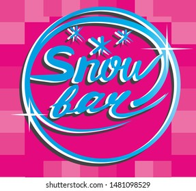 Logo snow bar on bright pink background with glitter