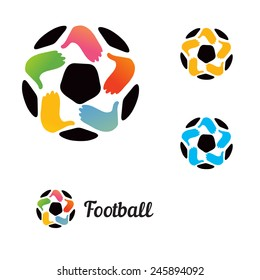 Logo with a soccer ball with his hands and a star