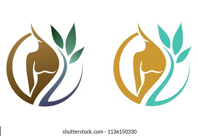 logo for spa procedures, female body in combination with nature