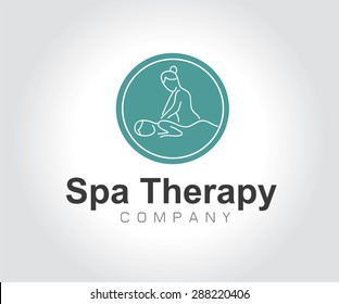 Logo for spa with woman for massage