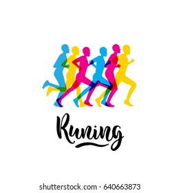Logo sports running event with lettering written with a brush. Vector image in a flat style with a group of runners athletes on a white isolated background