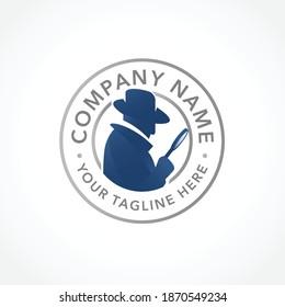 logo spy, silhouette of detective agent