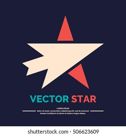 Logo of star with arrow on a black background. Vector illustration.