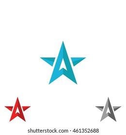 Logo star form upward arrows, creative shape letter A, concept direction sign, symbol leader