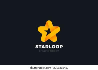 Logo Star Ribbon Design Vector template. Award Leader Winner Logotype concept icon