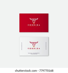 Logo steak house. Meat restaurant or butchery emblems. Identity. Business card. The stylized head of a bull and letters.
