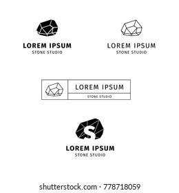 logo of stone studio. line art. simple sign. stone symbol. stone logotype.  symbol. design of logo. stone design. crystal logo. crystal sign. natural crystal