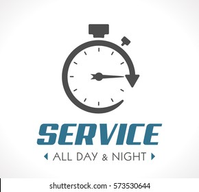 Logo - Stopwatch concept - all day and night - 24/7 service