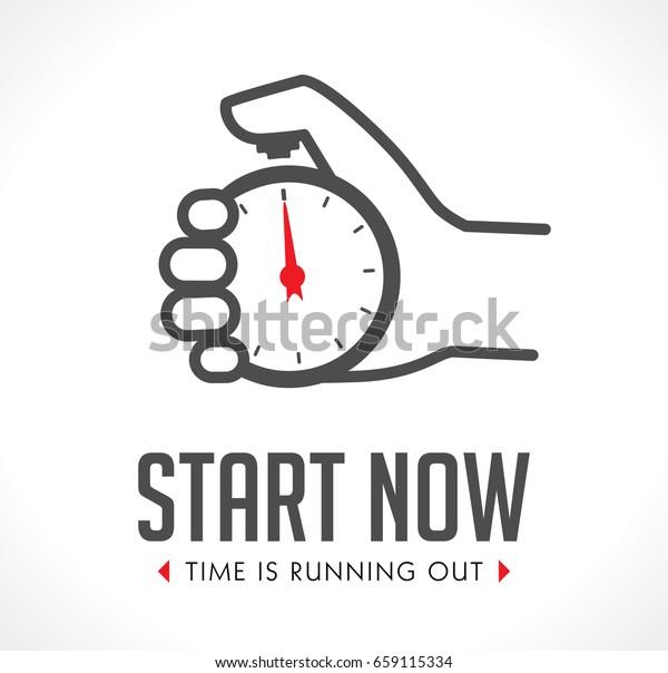 Logo Stopwatch Hand Start Concept Stock Vector (Royalty Free