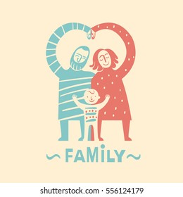 Logo style image of a happy family. A man with a beard, a woman with shoulder-length hair and their smiling young son wearing a blend of their colours.