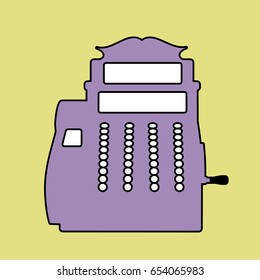 Logo style retro outlines. Cash register. Till. Vector Illustration