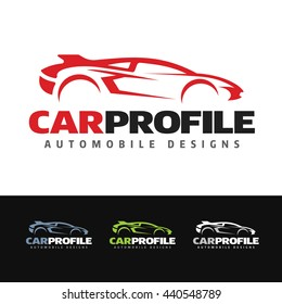 Logo of a stylized aerodynamic sports car profile. This logo is suitable for many purpose as body paint shop, mechanic shop, garage, racing cars event and more.