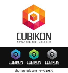 Logo of a stylized box, cube or hexagonal shape built with colorful polygons. This logo is suitable for many purpose as corporate identity, technologies development firm, gaming and more.
