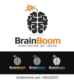 Logo of a stylized brain looking like a bomb. This logo is suitable for many purpose as brainstorm team, creation department, ideas and concept website and more.