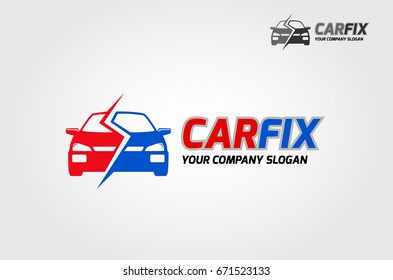 Logo of stylized car suitable for fixing car, car insurance, and car renting.