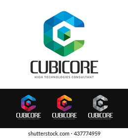 Logo of a stylized and colorful polygon box or cube. This logo is suitable for many purpose as technologies development firm, company name beginning with C, creation and publicity group and more.