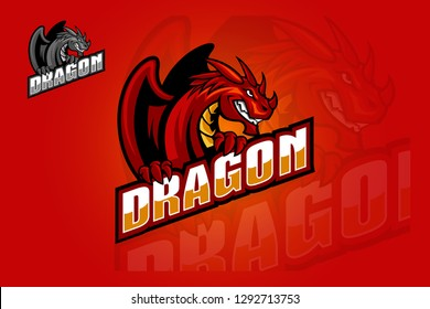 Logo of a stylized dragon in mascot illustration (mythical animal). Full vectors, this logo can be easily resize and colors can be changed to fit your project.