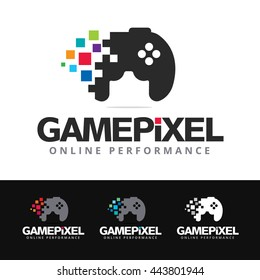 Logo of a stylized game pad with colorful pixels. This logo is suitable for many purpose as games development, gaming events, gamers logo and more.
