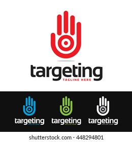 Logo of a stylized hand with target. This logo is suitable for many purpose as multimedia firm, publicity agencies, human resources and more.