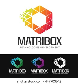 Logo of a stylized hexagonal shape built with colorful polygons. This logo is suitable for many purpose as sciences and technologies, corporate identity, media and publicity firm and more.