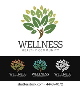 Logo of a stylized tree with human silhouette as trunk. This logo is suitable for many purpose as wellness center, nature resort, ecological company and more.