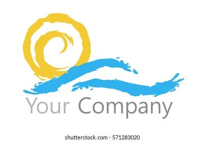 Logo sun and water. Sun and Sea.