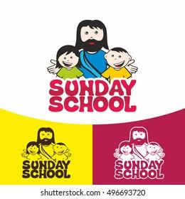 Logo Sunday school. Christian symbols. The Church of Jesus Christ.