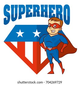 Logo Superhero man Cartoon character Vector illustration