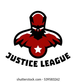 Logo superhero. Superman costume. Justice League. Logo on superhero defender of order, fight against crime and criminality. The representative of justice. Muscular body. Vector illustration.