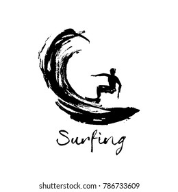 Logo for surfing club. Illustration of a surfer on a wave.