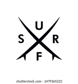 Logo surfing. Surfboard icon. Labels and emblems. Surf t-shirt design.