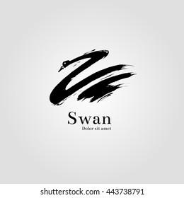 Logo swan. Hand drawn
