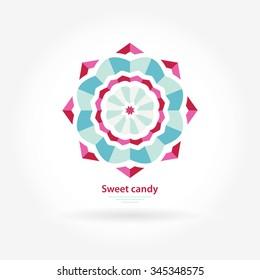 Logo for sweets. Beautiful circular logos. Logo for boutique, interior. Company logo, mark, emblem, element. Simple geometric logo. Mandala logo. Business, invitations. Sweet candy logo. Pink, blue.