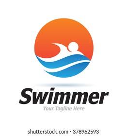Logo Swimmer Icon Element Template Design Logos