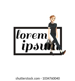 Logo symbol with busyness woman in casual clothes. Vector editable fashion illustration for your design