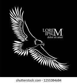 Logo symbol flying eagle. Vector