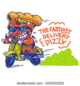 Logo symbol icon crazy big piece pizza driving fast speed retro scooter and try the fastest delivery street food eat pizza Vector modern style illustration cartoon character isolated white background.