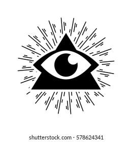 Logo symbol illustration triangular pyramid with the eye and sunburst