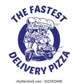 Logo symbol print crazy big piece pizza driving fast speed retro scooter and try the fastest delivery street food eat pizza Vector modern style illustration cartoon character isolated white background