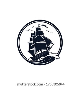 logo or symbol of a ship sailing in the middle of the ocean